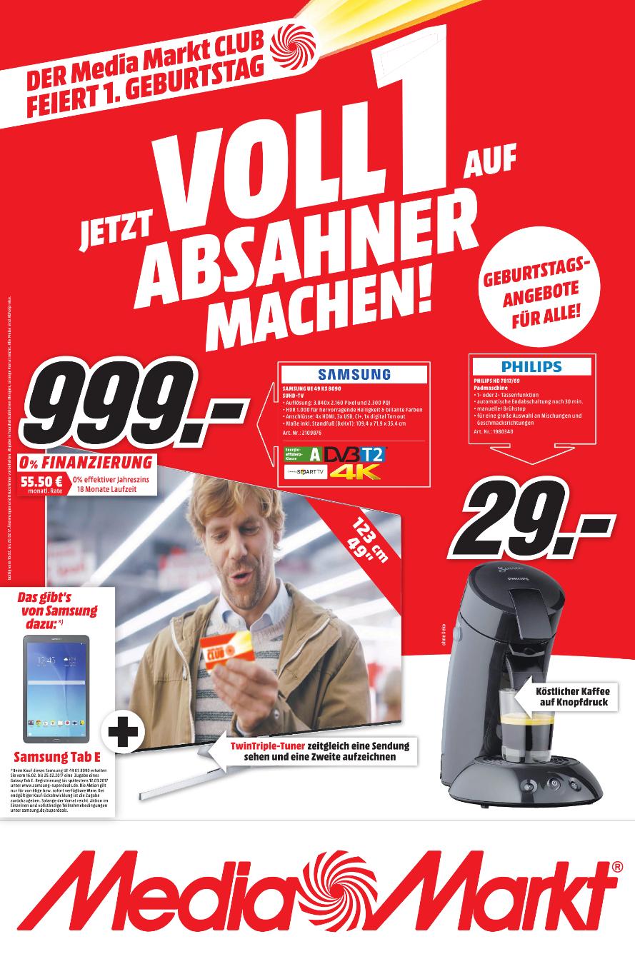 [Lokal Media Markt Berlin + Umgebung] Samsung UE49KS8090 SUHD TV + Samsung Galaxy Tab E für 999 Euro (Idealo 1399 Euro)