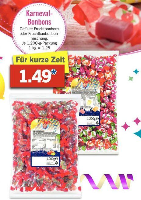 [Lidl ab Mo] Gefüllte Fruchtbonbons oder Fruchtkaubonbons 1,2kg für  1,49€