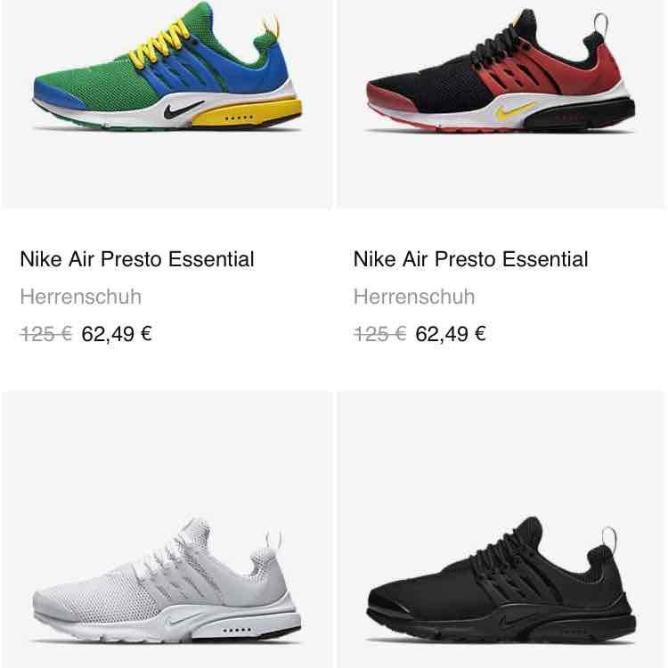 Nike Flash Sale. z.B. Nike Presto für 62,49€ und ein paar andere gute Angebote.
