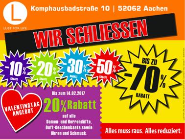 Bis zu 70% Rabatt bei Lust for Life in Aachen wegen Schließung