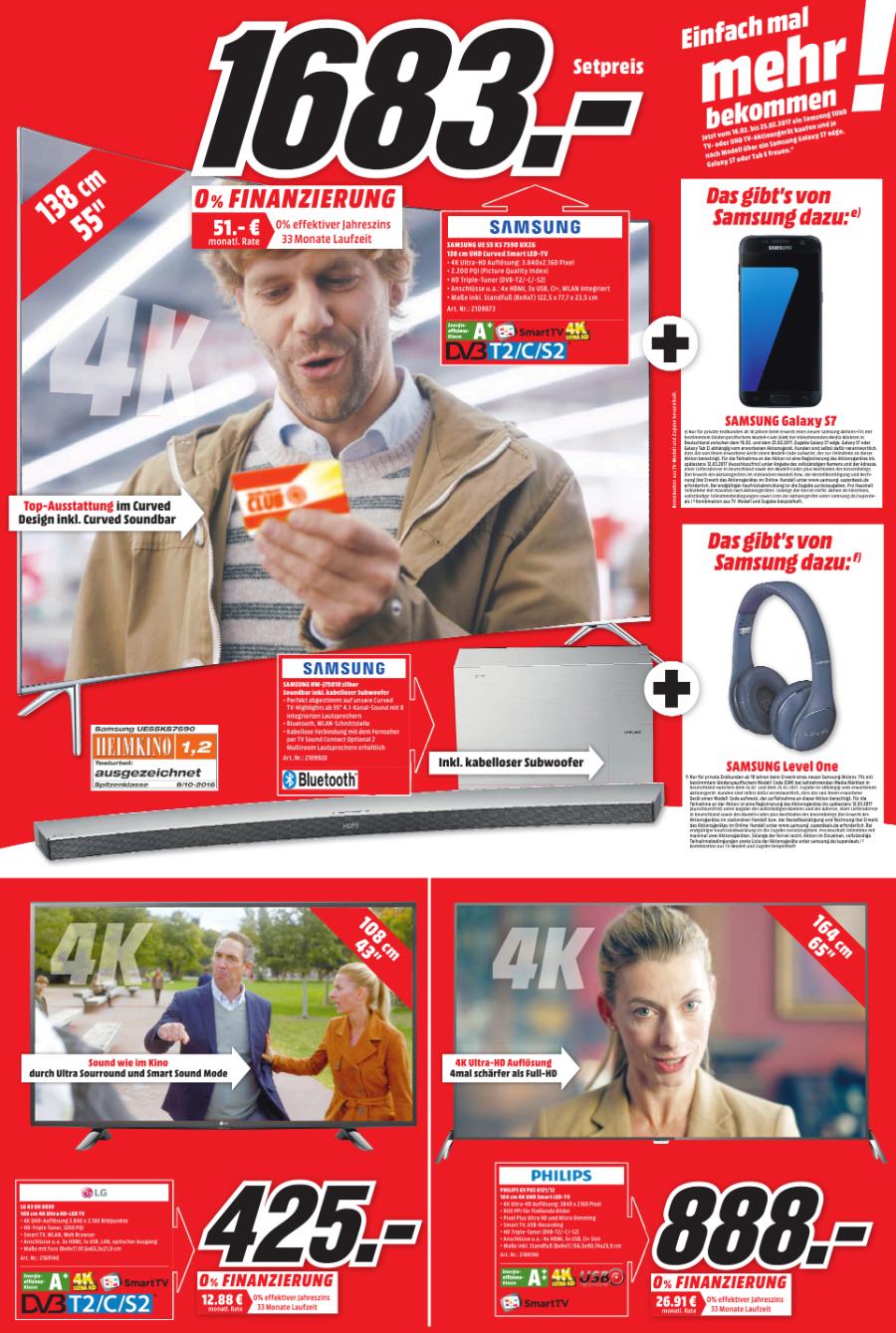 [Lokal Media Markt Lieblos: Samsung-Bundle: UE 55 KS7590 UHD Curved LED TV + Soundbar HW-J7501R inkl. kabelloser Subwoofer + Kabelloser Kopfhörer Level One + Galaxy S7