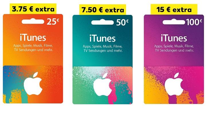 [Kaufland - bundesweit] Vom 23.02.2017 bis 01.03.2017 iTunes Karten mit bis zu 15€ Extra Guthaben