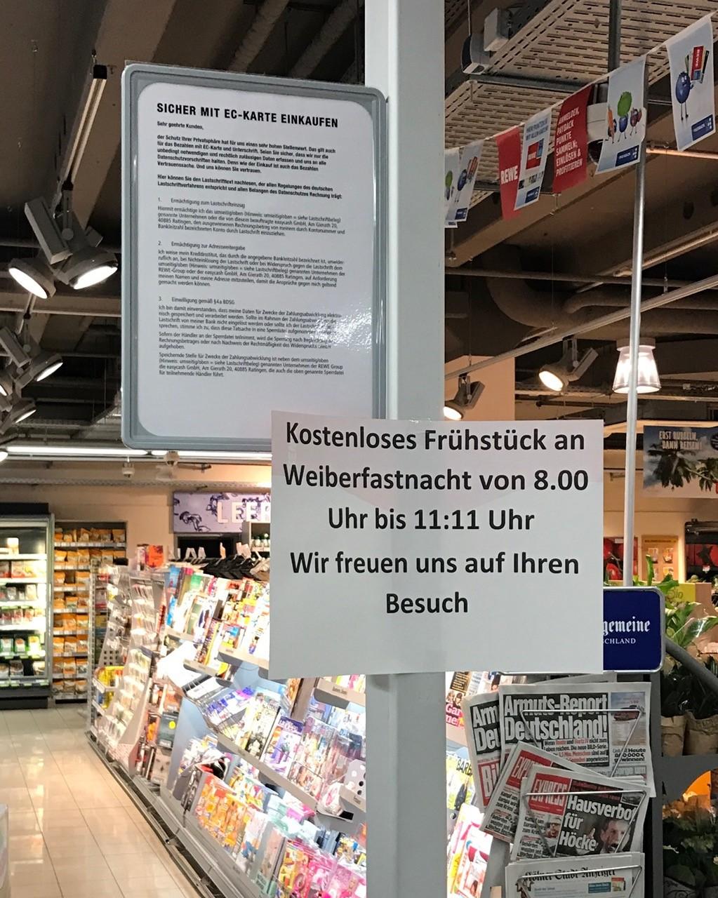 [Lokal Köln] Kostenloses Frühstück am 23.02.2017 im REWE Venloer Str. 41