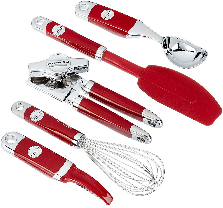 KitchenAid KM412ER Küchenhelfer-Set, Edelstahl, rot, 5 Einheiten, 30 x 25 x 20 cm für 23,55€ bei Amazon.de