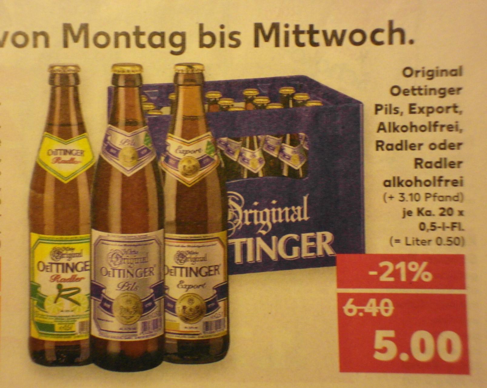 [Kaufland] Oettinger Pils, Export, Alkoholfrei, Radler oder Radler alkoholfrei, der Kasten 5 Euro