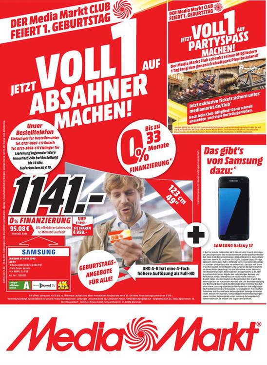 [Lokal Media Markt Karlsruhe] Samsung UE49KS9090 + Samsung Galaxy S7