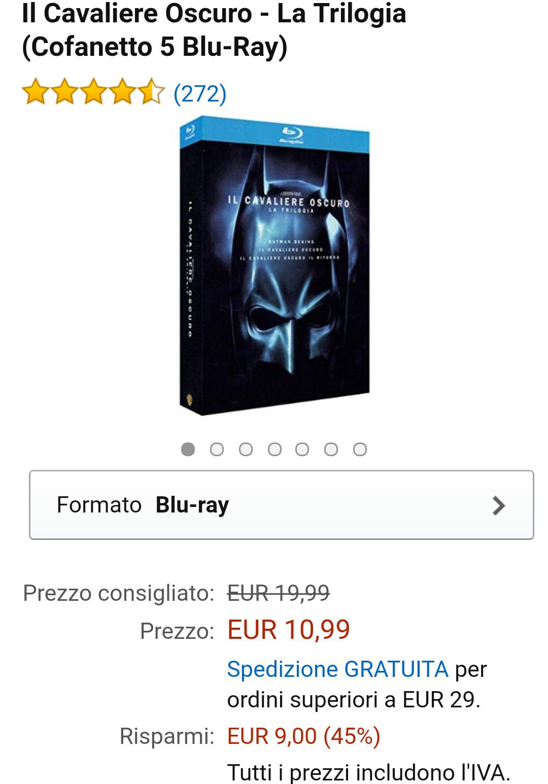 [amazon.it] Dark Knight Trilogie 1-3 (5x Blu-ray) 14,68€ (VGP Idealo 24,13€)