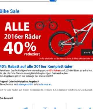 40% Rabatt auf alle 2016er Kompletträder
