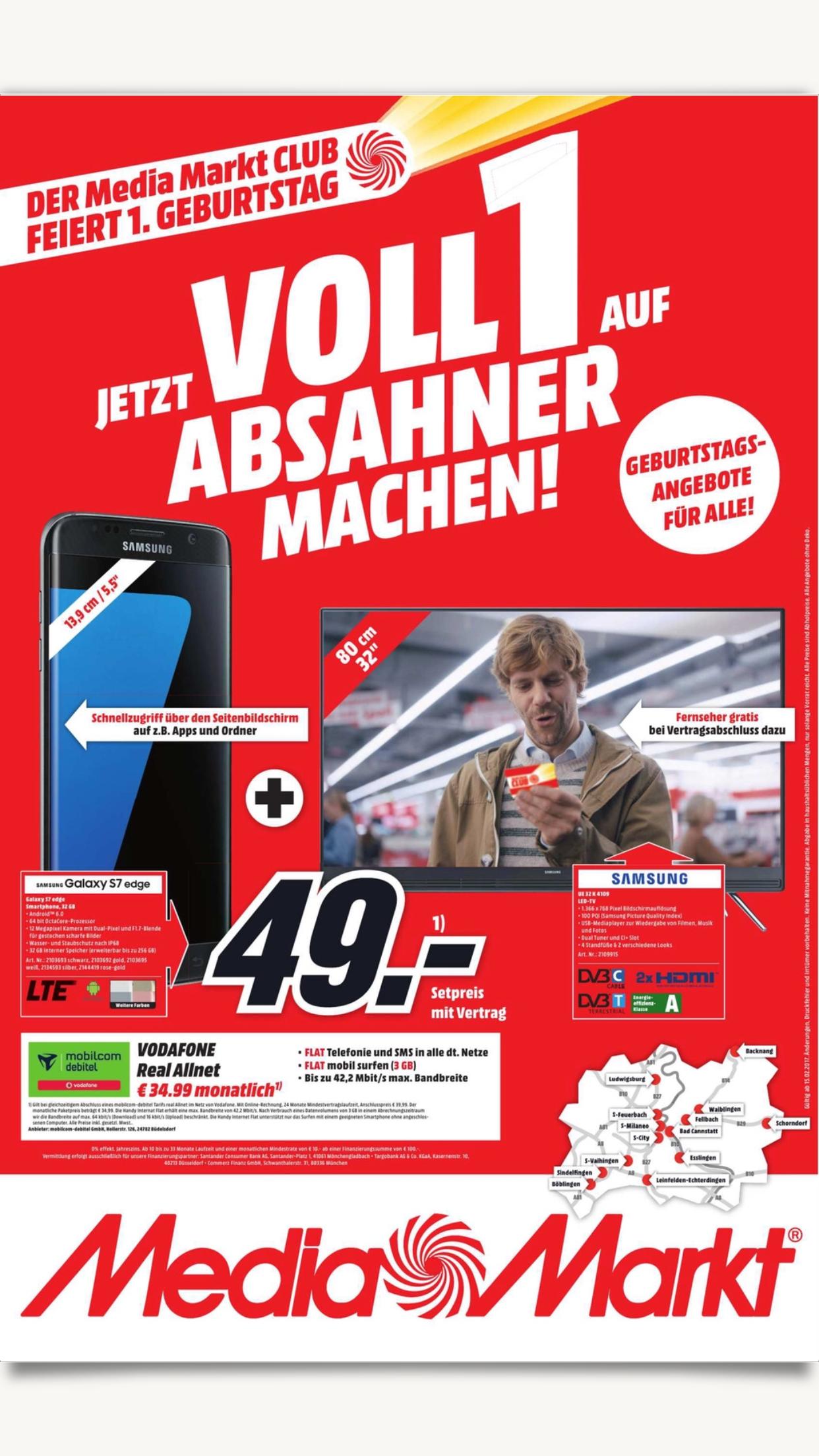 "LOKAL mehrere MediaMärkte in BW Samsung Galaxy S7 Edge + 32"" TV + Vodafone Allnet mit 3GB"