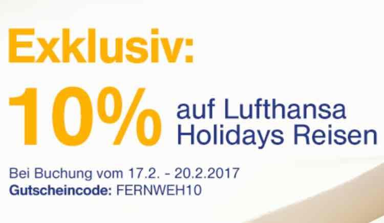 10% auf alle Lufthansa Holidays Reise (17.2-20.2)