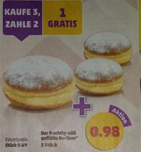 Fruchtig-süß gefüllte Berliner jeweils 3 Stück für 0,98€ oder 5 Quarkbällchen für 1€ [Penny]