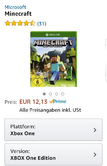 Minecraft xbox one Edition - 12,13€ mit Amazon Prime