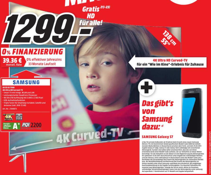 [Lokal Media Markt Raum Stuttgart] Samsung UE55KS7590 4K Curved SUHD-TV + Samsung Galaxy S7 für 1299,- Euro
