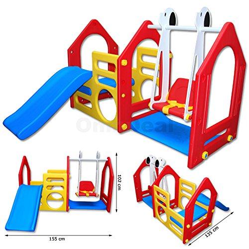 LittleTom Kinder Spielhaus mit Rutsche und Schaukel statt 140,99 € inkl. Versand für 99,99€ + 9,99 € [amazon.de]