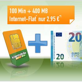 Klarmobil Telekom-Netz 100 Freiminuten + 400 MB für 2,95 € / Monat + 20 € Auszahlung