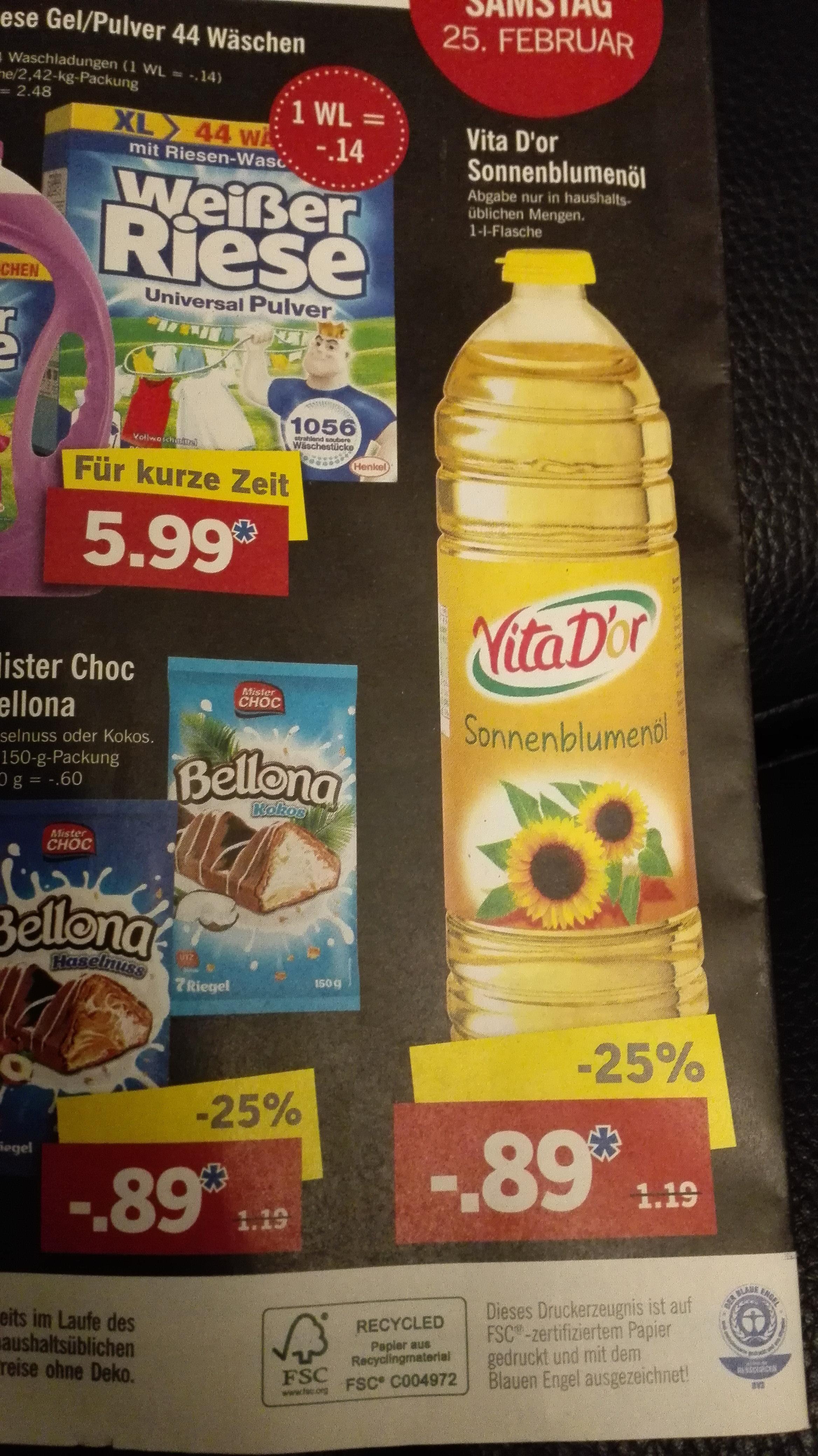 [LIDL] Vita D`or Sonnenblumenöl zu 0,89€ je Liter (statt 1,19€) am 25.02.2017