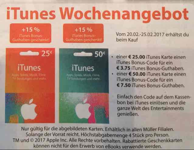 Müller - iTunes Wochenangebot. 15% extra Guthaben (13,04% Rabatt)