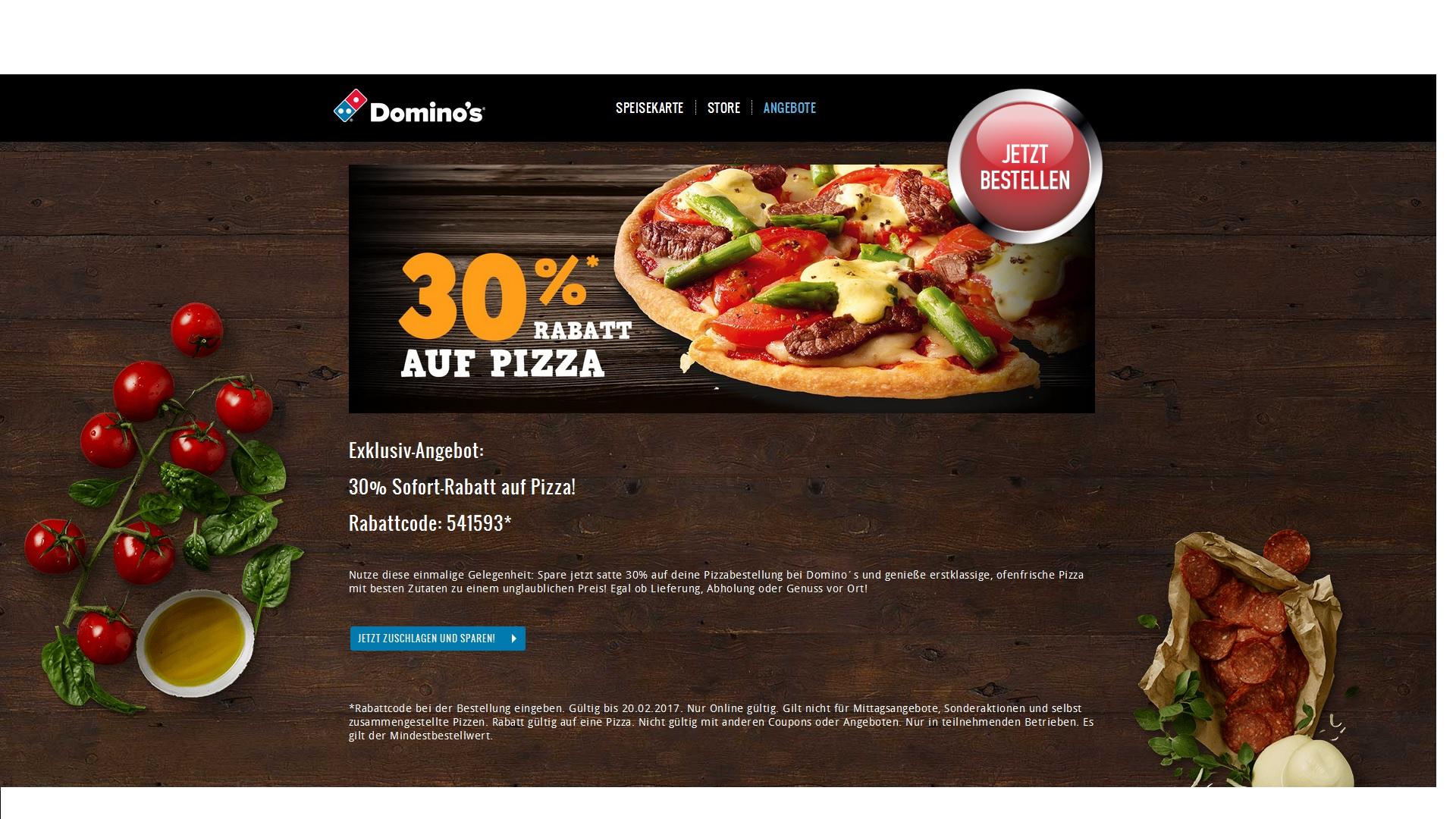 Domino´s 30% Rabatt auf Pizza!