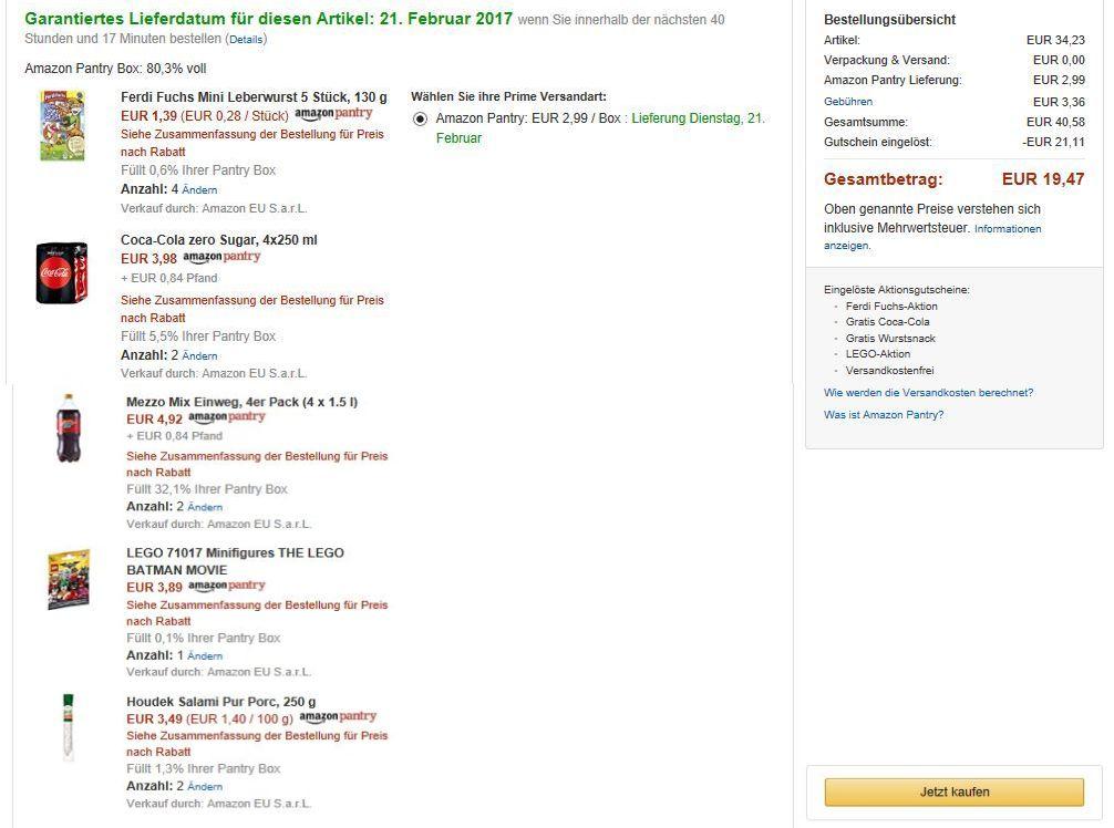 alle Amazon Pantry Aktionen nutzen und 21,11€ sparen