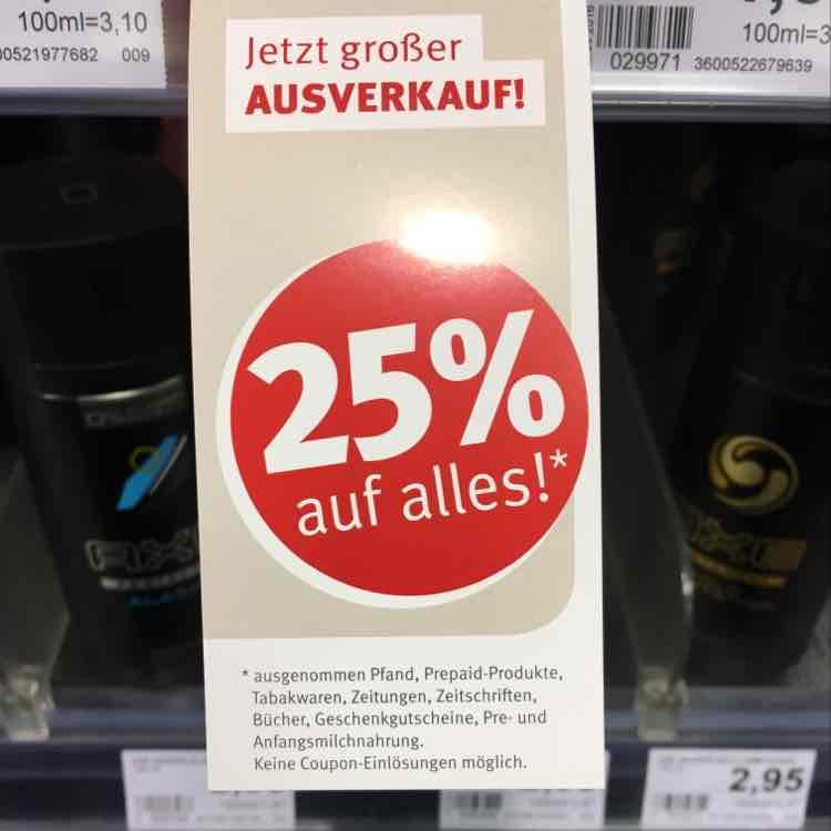 [Lokal HH Bergedorf] Rossmann Ausverkauf 25% auf alles*