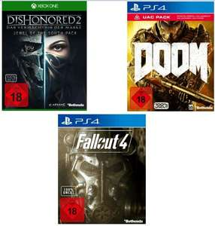 Doom + UAC Pack (PS4/XB1/PC) für je 12,99**Fallout 4 (PS4/XB1) für je 14,99€**Dishonored 2: Das Vermächtnis der Maske (PS4/ XB1/PC) für je 19,99€.Alles Versandkostenfrei [Saturn Online Offers]