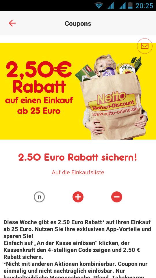 [Netto MD] 2,50 EUR Rabatt mit der Netto App + 15 % Punkterückvergütung Deutschlandcard