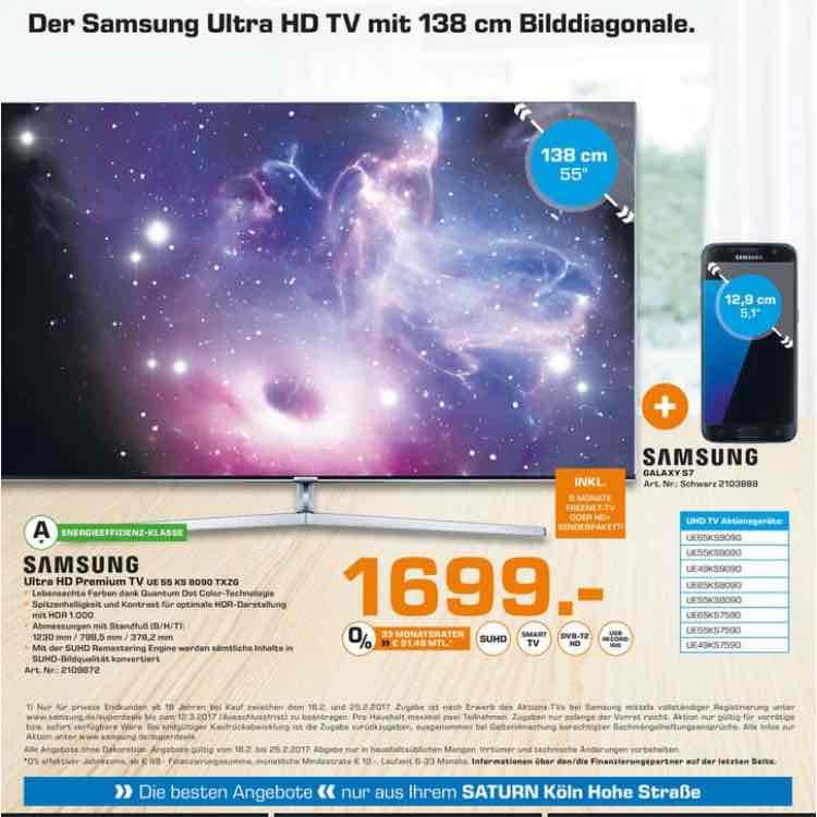 samsung 55 KS 8090 zusätzlich S7 Handy gratis!! (deutsches Model) im Saturn Prospekt Köln