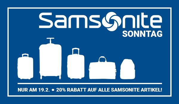 KofferDirekt Shop // Nur am 19.2. gibt es 20% Rabatt auf alle Samsonite Artikel!