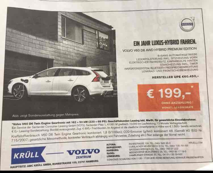 Krüll Hamburg, Volvo V60 Plug-in-Hybrid(220+68 PS), 199€/Mtl. Leasingrate, 895€ Frachtkosten, 10.000km p.a., 12 Monate [Geschäftskunden-Leasing]