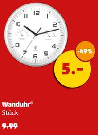 Funk Wanduhr inkl. Thermo- und Hygrometer für 5€ @ penny ab 23.02.17 (Bayern)