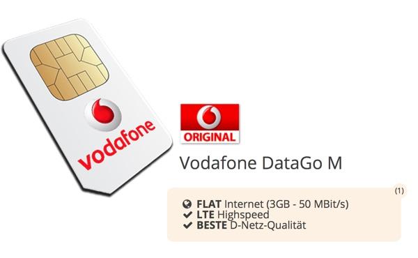 Vodafone DataGo M 3GB LTE Datentarif für 17,49 EUR/Monat - 252 EUR Auszahlung = 6,99 EUR/Monat effektiv