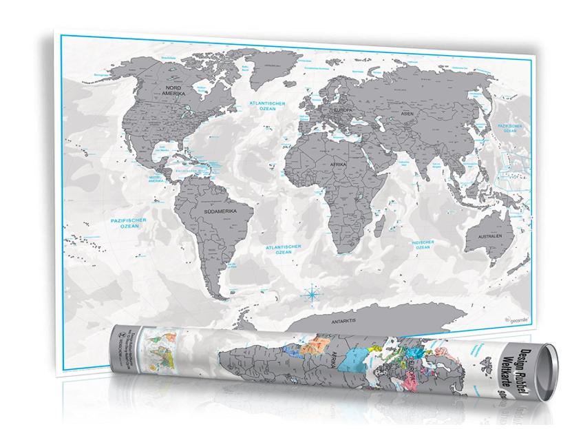 Rubbel Weltkarte in Silber oder Gold für 5,97€ inklusive Versandkosten bei [Amazon] *UPDATE*