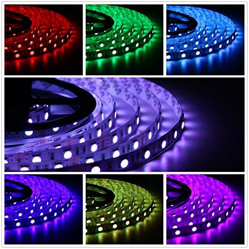 Salcar 2x5m RGB LED Strip mit 600 LEDs (SMD5050), 16 Farben auswählbar, inkl. 24 Tasten IR-Fernbedienung, Controller und 12V 120W Netzteil