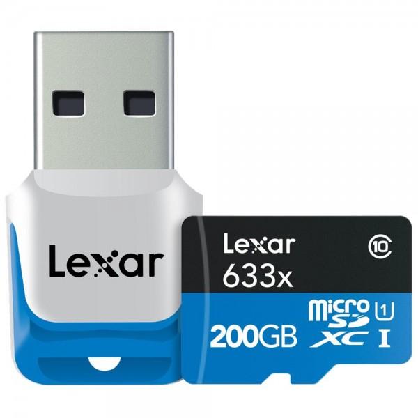 Lexar microSDXC 633x UHS-I 200GB Speicherkarte mit USB 3.0 Kartenlesegerät für 66,99 EUR versandkostenfrei bei okluge.de statt 76,99 EUR