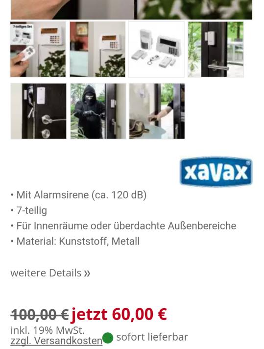 Xavax Sicherheitsprodukte/Alarmanlage Basis-Set (Feel Safe Serie) stark reduziert [PVG 88,91]