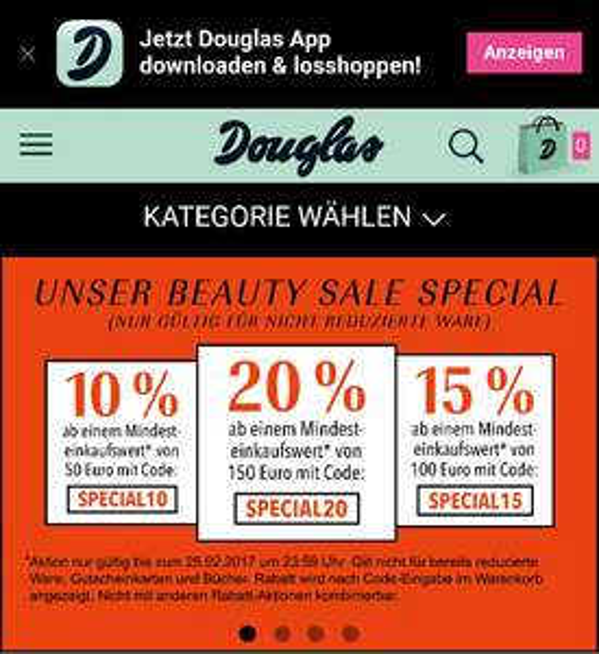Bis zu 20% Rabatt bei Douglas