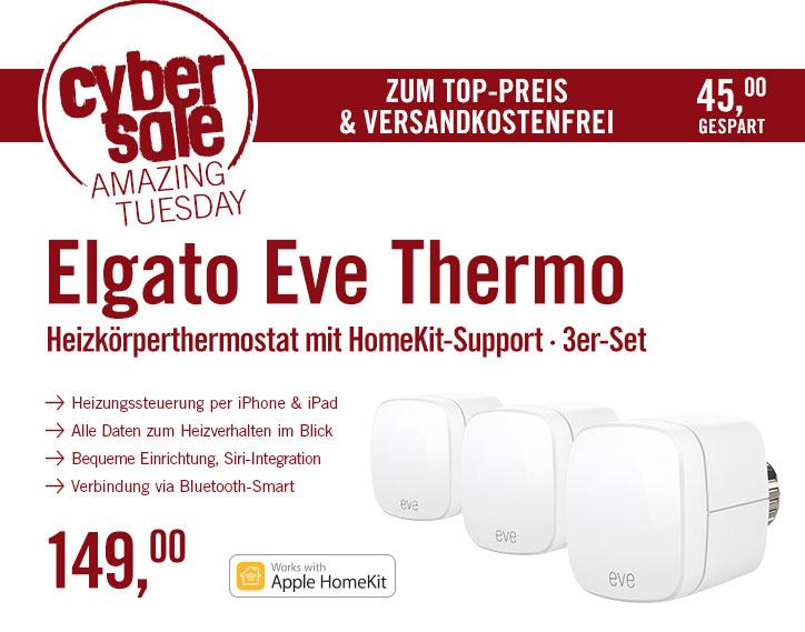 3x Elgato Eve Thermo - (Apple HomeKit) für 149€ @ Cyberport