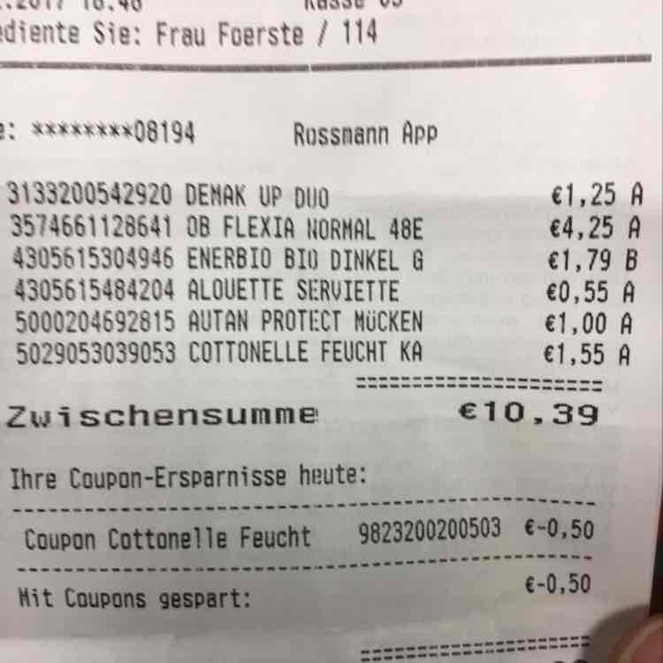[Rossmann] Cottonelle Coupon doppelt abgezogen