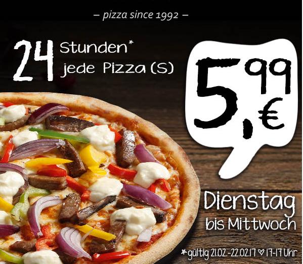[Lokal] UNO PIZZA - 24h jede Pizza in der Größe S (25cm) für 5,99€ statt ab 7,10€-9,30€