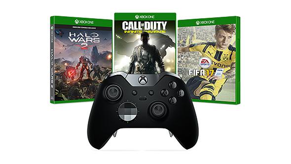 Microsoft Xbox Elite Controller + Battlefield 1 (oder Halo Wars 2, Forza Horizon 3 u.a. Spiele) für 117,45€ [Microsoft Store UK]