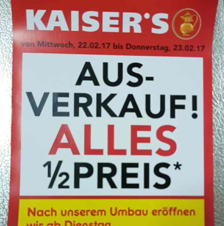 [Lokal Monheim] 50% auf alles bei Kaisers! Ausverkauf