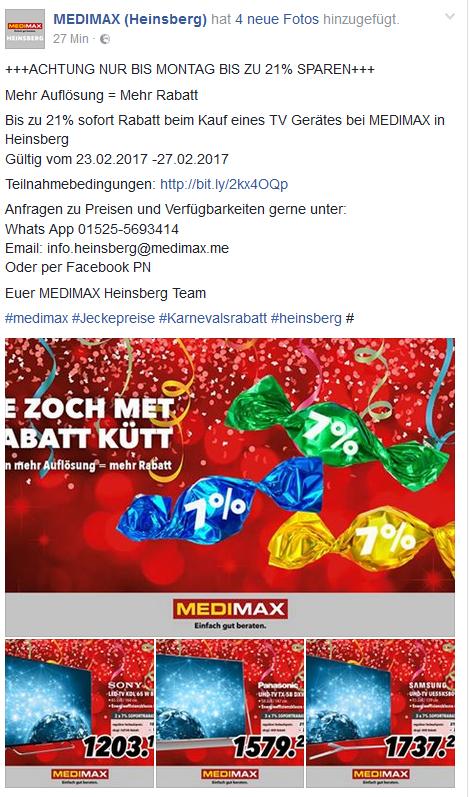 21% Sofortrabatt auf UHD TV und A+++ Elektro Groß Geräte bei MEDIMAX in Heinsberg