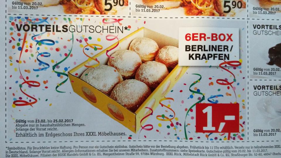 6-er Berliner / Krapfen Box für 1€ bei XXXL-Möbelhaus! Macht 17 Cent pro Stück!