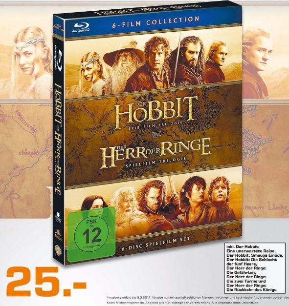 [Lokal Saturn Dortmund] Mittelerde Collection (Hobbit/Herr der Ringe) (Blu-ray), 6 Discs für 25,-€