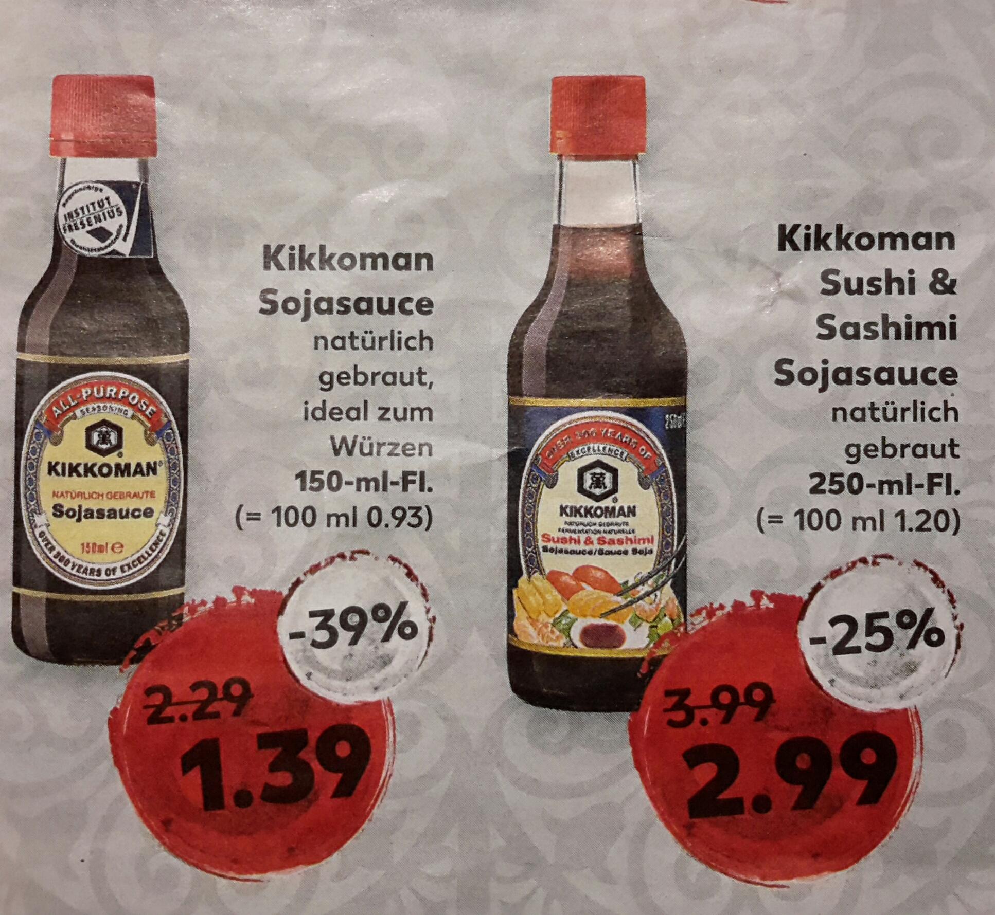 [Kaufland] Kikkoman Sojasauce für 1,39 € bzw. Sushi & Sashimi Sojasauce für 2,99 € ab 23.02.17