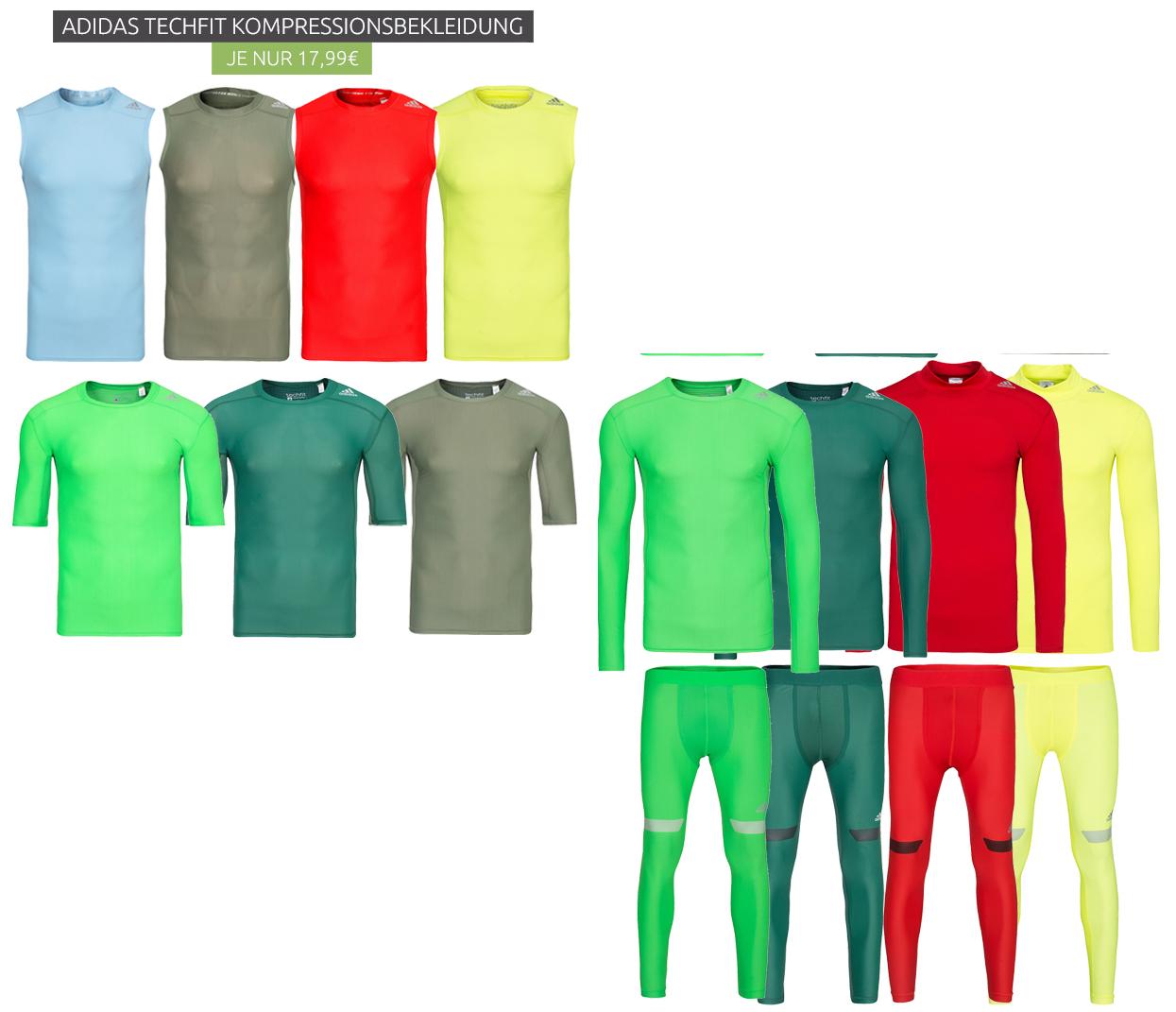 adidas techfit Kompressions-Shirts lang- u. kurzarmig und Kompressions-Leggings in div. Farben @outlet46