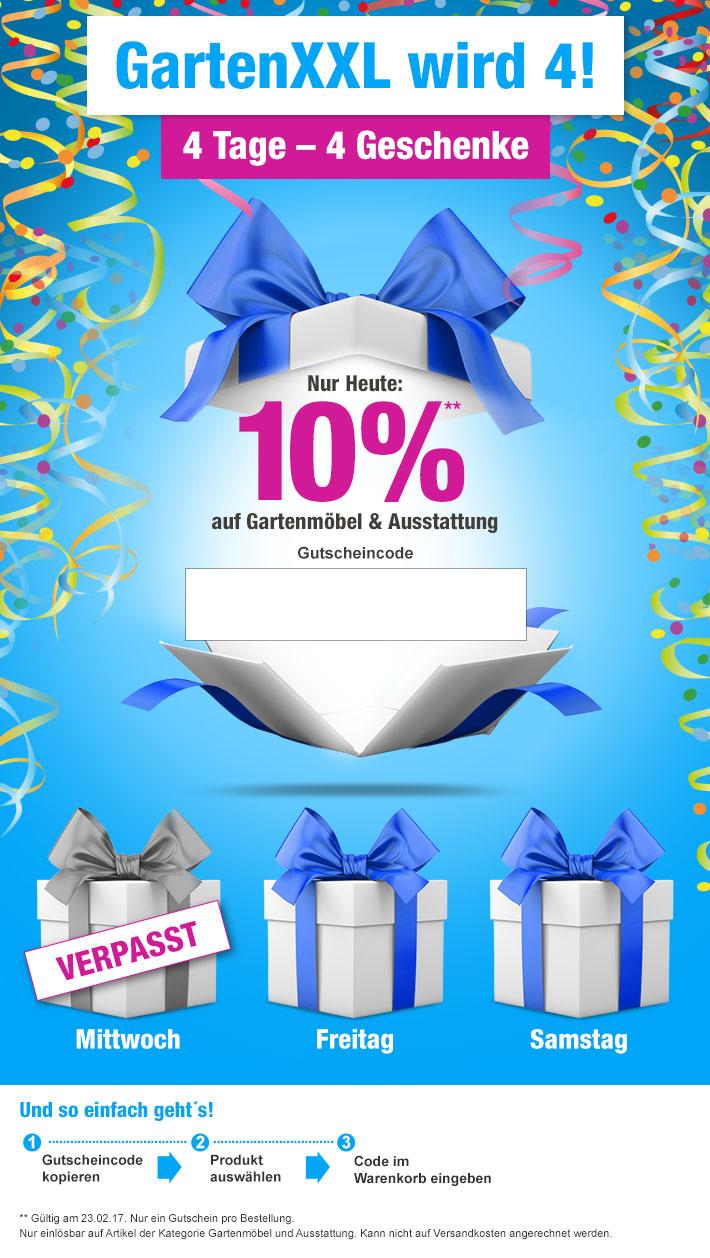 GartenXXL.de - 4 Tage - 4 Geschenke: 10 % Rabatt