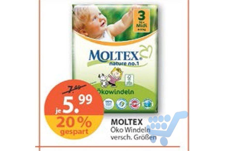 [Lokal Nürnberg] Moltex nature no.1 Ökowindeln für 4,49€ (1,50€ Couponplatz Gutschein); ev. 4,04€ mit 10% Rossmann Gutschein@Müller