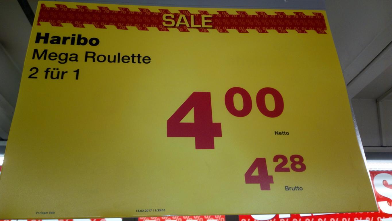 [Metro Frankfurt-Rödelheim] - 2 x 40 x 45 g (3,6 kg) Haribo-Roulette für Euro 4,28