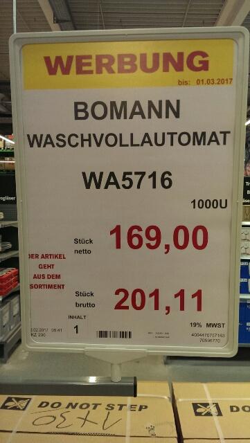 [Selgros Norderstedt] Bomann Waschmasch. WA5716 A+